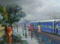 Wet Platform - 14; Acrylic on Canvas by Bijay Biswal