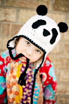 Panda bear hat , Girl hat - Boy hat , Baby hat , Soft Earflap Hat.  via Etsy.