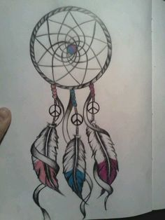 Dream Catcher tattoo idea- could do names on the feathers.