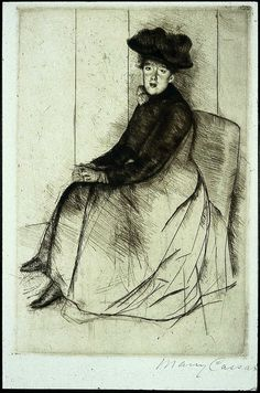 Mary Stevenson Cassatt (American painter) 1844 - 1926, Reflection, ca. 1890, drypoint on blue laid paperypoint, soft ground etching, and aquatint in color, 25.7 x 17.4 cm. (10 1/8 x 6 7/8 in.), signed lower left: Mary Cassatt, Museum of Fine Arts, Boston, United States