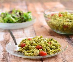 Pesto Pasta with Fresh Mozzarella and Cherry Tomatoes