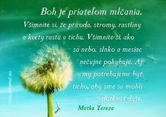 Boh je priateľom mlčania. Všimnite si, že príroda, rastliny a kvety rastú v tichu. Všimnite si, ako sa nebo, slnko a mesiac nečujne pohybujú. Aj my potrebujeme byť ticho, aby sme sa mohli dotknúť duše. -- Matka Tereza Matka Tereza, Powerful Words, True Words, Quotations, Prayers, Spirituality, Inspirational Quotes, Let It Be, Humor