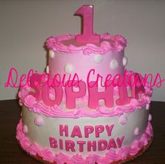 Pink & White Polka Dots Birthday Cake by Delicious Creations (Hickory Hills, IL)  http://www.deliciouscreationsinc.com/partycakes.html