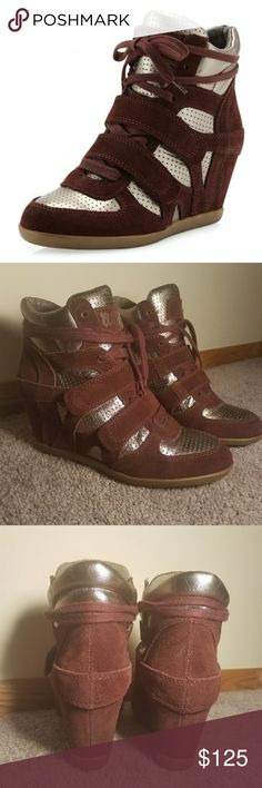 """Ash Metallic Leather Sneaker Wedges Worn one time. Minimal signs of wear.  Double Velcro straps over lace up genuine leather wedges.  7"""" tall • 8 3/4"""" long  Wine and metallic silver color. Stock photos are accurate. Excuse my poor lighting, I was excited to share these babies with the world!! Ash Shoes Wedges"""