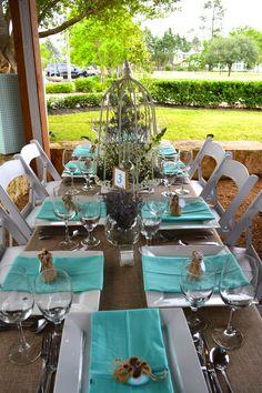 Haras Hacienda Terrace  Beautiful table set Country Chic Aqua