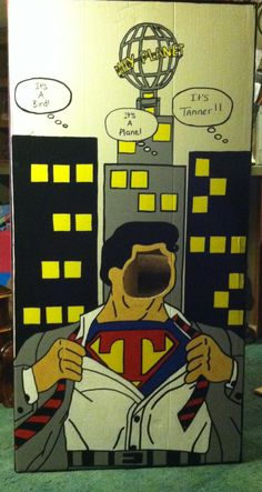 Backside of the superman phone booth I made for Tanners party