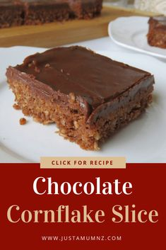Delicious and Easy Chocolate Cornflake Coconut Slice Delicious Chocolate Cornflake Slice, this is a great easy recipe. Have you made weetbix slice before, just like that. A great alternative. Chocolate Slice, Delicious Chocolate, Chocolate Recipes, Coconut Chocolate, Tray Bake Recipes, Cereal Recipes, Cake Recipes, Easy No Bake Recipes, Baking Recipes Uk
