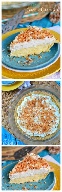 BEST Coconut Cream Pie EVER! Made with coconut milk for extra creamy, coconut flavor! This is my Dad's favorite pie and it is truly amazing! Best part? The custard. And I totally made it in the microwave. You have to give this easy dessert a try!:
