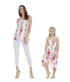 0ff9707364d0 Matching Mother Daughter Set Women Tank Top and Girl Butterfly Dress in  Pink Hibiscus Vine White