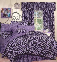 Kimlor Lavender Zebra Print Complete Bedding Set $89.99 #zebra #purple #kidsbedding