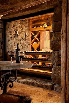 ♂ Private rustic wine room