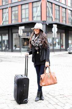 Travel Attire - Vince jacket // RD Style sweater // J Brand jeans c/o Rag & Bone boots // Janessa Leone hat // Donni Charm scarf  Hermes watch // Vita Fede bracelet // Julie Vos necklace // YSL purse Monday, March 17, 2014