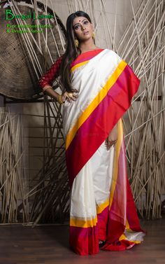 Beautiful White and Red Art-Silk Banarasi Saree available for sale from Bengal Looms.