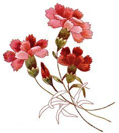 Embroidered carnations in silk by Margaret Cobleigh~  Thanks to Margaret Cobleigh for her genius in converting this image of carnations into a design for hand embroidery. The image is taken from A Treatise on Embroidery with Twenty Color Illustrations from Original Models. Art Needlework Series No. 8 by M. Heminway & Sons Silk Company .