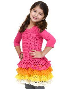 Yarnspirations.com - Caron Rows o' Ruffles Dress  - Patterns  | Yarnspirations