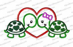 Turtle Love Applique Embroidery Design - Kris Rhoades