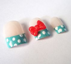 Teal and White Polka Dots Fake Nails With Red by BettysEvilTwin