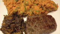 Receita fit de carne com batata doce e cogumelos