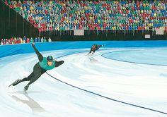 スピードスケート Speed skating #illustration #people