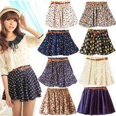 Fashion Girls Women Sweet Summer Chiffon Shorts Skirt Mini Dress with Belt @eBay