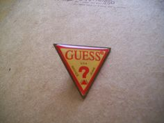 80s Guess Jeans Logo Pin. Vintage Fashion Collectible Metal Brooch Badge. GVS, VL team. Etsy.