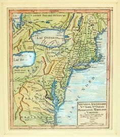 Antique Map by Robert Vaugondy  1749 Antique map of New England, New York, New Jersey, Pennsylvania, Maryland, and Virginia. By Gilles Robert de Vaugondy (1688 - 1766)  Map dimensions: 19cm x 16cm Hand-drawn and hand-coloured. Framed.