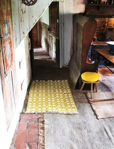 overlapping rugs (walk thru the house w/o ever touching cold floors)