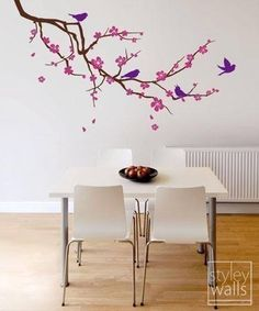 Cherry Blossom Wall decals Branch and Birds Flower vinyl wall decal tree Home Decor -LARGE - Nursery Vinyl Wall Decal Children Kids Bird Wall Decals, Nursery Wall Decals, Wall Decal Sticker, Wall Murals, Deco Zen, Wall Decor, Room Decor, Cherry Blossom, Cherry Tree