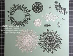 The Spider Web Doily – dissected. I see snowflakes or medallions, a crown, an arrow, a fleur de lis, a bird flying off, a scarier spider web, and a sparse feather. … #stampyourartout #stampinup - Stampin' Up! - Stamp Your Art Out! www.stampyourartout.com