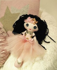 Pink and Gold Handmade Cloth Doll