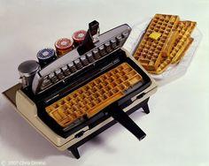 Typewriter keyboard-shaped waffle iron. Of course.