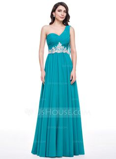 A-Line/Princess One-Shoulder Floor-Length Chiffon Tulle Prom Dress With Ruffle Beading Appliques Lace Sequins (018056772)