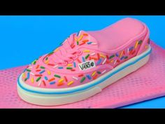 I made Vans Shoe Cake covered in sprinkles. In this video I show you step by step how to shape the cake, fill, covered and decorate to make it look like Vans...