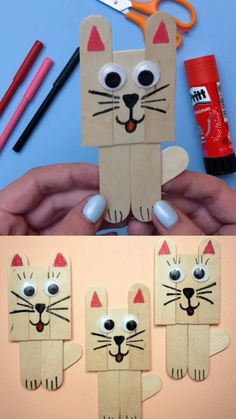 cat crafts for kids / cat crafts ; cat crafts for kids ; cat crafts for toddlers ; cat crafts for kids easy ; cat crafts for adults ; cat crafts for kids art projects Popsicle Stick Art, Popsicle Stick Crafts For Kids, Crafts For Kids To Make, Craft Stick Crafts, Preschool Crafts, Art For Kids, Craft Art, Craft Kids, Kids Diy