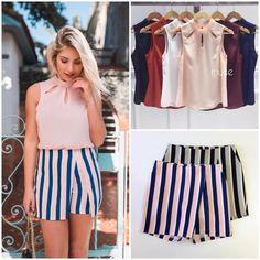 ✨🅒🅗🅘🅠🅤🅔 ✨. #blusa #blusinha #regata #crepepesado  Ref. Blusa Kyla.  Cores variadas.  #shortsaia #cosalto #listra #estampa  Ref. Short Saia Chanel Listra.  Cores: rosê, preto.