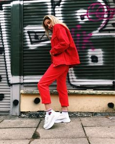 Shop Your Screenshots™ with LIKEtoKNOW.it, a shopping discovery app that allows you to instantly shop your favorite influencer pics across social media and the mobile web. Red Denim Jacket, Monki, Mom Jeans, How To Wear, Jackets, Pants, Outfits, Shopping, Style