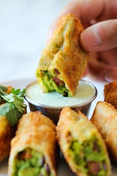 Healthy Diet and Recipes: Avocado Egg Rolls With Cilantro Dipping Sauce - Low Fat Low Cholesterol