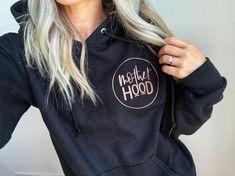 Motherhood // Black Hoodie (Rose Gold or White ink) Tired Mom, Tee Design, White Ink, Hoodies, Sweatshirts, Shirt Shop, Black Hoodie, Girl Fashion, My Style