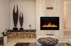Tremendous Built In Fireplace Modern Design Image Collection: Lovely Gas Built In Fireplace With Wooden Wall Panels As Well As Artwork On Built In Shelves And Log Wood Base Decor In Modern Living Room Furnishing Ideas Contemporary Fireplace Designs, Contemporary Decor, Contemporary Stairs, Contemporary Cottage, Kitchen Contemporary, Contemporary Apartment, Contemporary Chandelier, Contemporary Landscape, Contemporary Architecture