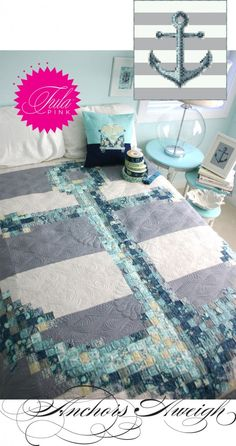Awesome nautical theme quilt made with Anchors Aweigh fabrics by Tula Pink - available from Hawthorne Threads- MOM I WANT! Quilting Projects, Quilting Designs, Sewing Projects, Quilt Design, Longarm Quilting, Fabric Design, Diy Projects, Nautical Quilt, Nautical Theme