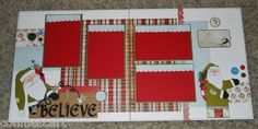 Christmas Vintage Santa Premade Scrapbook Layout 2 Pages 12x12 Paper Pieced | eBay