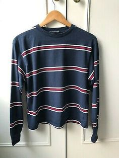 Brandy Melville Striped Navy Long Sleeve Top - worn twice Red Stripes, Brandy Melville, Neck T Shirt, Navy And White, Long Sleeve Tops, Clothes For Women, Link, Clothing, Sleeves
