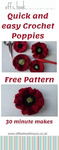 Knitted Poppy Free Pattern, Crochet Leaf Patterns, Crochet Leaves, Crochet Designs, Crochet Butterfly Free Pattern, Crochet Appliques, Applique Patterns, Crochet Puff Flower, Crochet Flower Tutorial