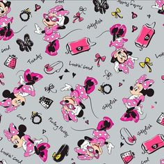 Disney Fashionista Toss Minnie Mouse Accessories Grey Cotton Fabric by the Yard in Crafts, Sewing & Fabric, Fabric Mickey Mouse Kunst, Mickey Mouse Fabric, Mickey Mouse Images, Mickey Mouse Wallpaper, Disney Fabric, Disney Wallpaper, Mickey Minnie Mouse, Disney Mickey, Minnie Mouse Background