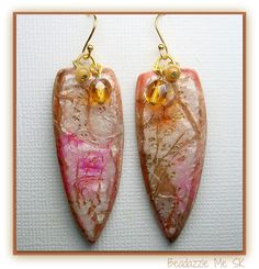 Teardrop Exotic Dangle Earrings, polymer clay by BeadazzleMe, via Etsy.