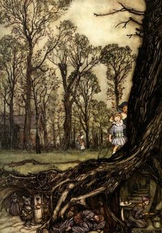 figure 24. Fairies are more or less hiding until dusk. from Peter Pan in Kensington Gardens by Arthur Rackham