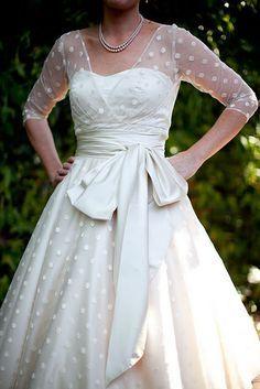 tea length wedding dress polka dot