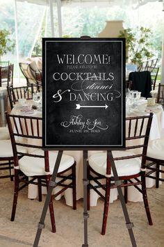 Printable Vintage Chalk Board Wedding Welcome Sign -- Calligraphy Script -- pompdesigns via Etsy