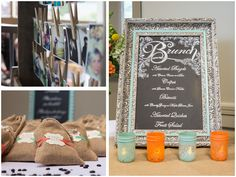 Vintage frames and a re-purposed pallet photo display and coffee bean bags as wedding favors | Brunch Wedding in Seattle