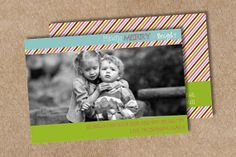 Double sided Family photo Christmas card Merry by yellowlemons, $15.00